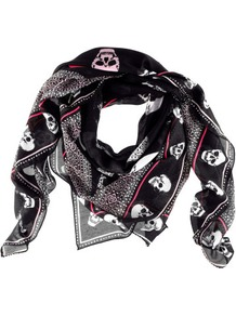 Scarf - predominant colour: black; occasions: casual, work; type of pattern: standard; style: square; size: standard; material: fabric; pattern: patterned/print