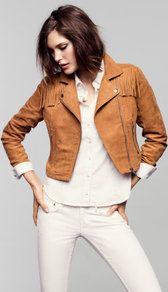 Jacket - pattern: plain; style: biker; bust detail: added detail/embellishment at bust; collar: asymmetric biker; length: cropped; fit: slim fit; predominant colour: tan; occasions: casual; fibres: polyester/polyamide - 100%; shoulder detail: added shoulder detail; back detail: embellishment at back; sleeve length: long sleeve; sleeve style: standard; collar break: medium; pattern type: fabric; texture group: suede