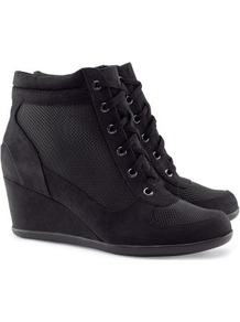 Sneakers - predominant colour: black; occasions: casual; material: fabric; heel height: mid; heel: wedge; toe: round toe; boot length: ankle boot; style: high top; trends: sporty redux; finish: plain; pattern: plain