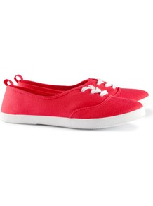 Sneakers - predominant colour: true red; occasions: casual, holiday; material: fabric; heel height: flat; toe: round toe; style: trainers; trends: sporty redux; finish: plain; pattern: plain