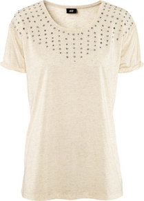 Top - neckline: round neck; bust detail: added detail/embellishment at bust; style: t-shirt; predominant colour: ivory; occasions: casual, evening, work; length: standard; fibres: polyester/polyamide - mix; fit: body skimming; shoulder detail: added shoulder detail; sleeve length: short sleeve; sleeve style: standard; pattern type: fabric; pattern size: small & light; texture group: jersey - stretchy/drapey; embellishment: beading