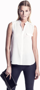 Blouse - pattern: plain; sleeve style: sleeveless; bust detail: pocket detail at bust; style: blouse; predominant colour: white; occasions: casual, evening, work; length: standard; neckline: mandarin with v-neck; fibres: polyester/polyamide - 100%; fit: straight cut; sleeve length: sleeveless; texture group: sheer fabrics/chiffon/organza etc.; pattern type: fabric; pattern size: standard