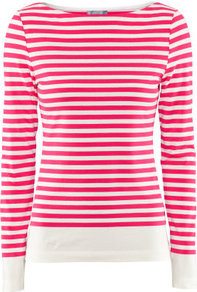Top - neckline: round neck; pattern: horizontal stripes; style: t-shirt; predominant colour: true red; occasions: casual, work; length: standard; fibres: cotton - stretch; fit: body skimming; sleeve length: long sleeve; sleeve style: standard; trends: fluorescent; pattern type: fabric; pattern size: standard; texture group: jersey - stretchy/drapey