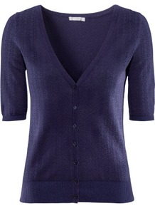 Cardigan - neckline: low v-neck; bust detail: buttons at bust (in middle at breastbone)/zip detail at bust; predominant colour: navy; occasions: casual, work, holiday; length: standard; style: standard; fibres: cotton - mix; fit: standard fit; waist detail: fitted waist; sleeve length: short sleeve; sleeve style: standard; texture group: knits/crochet; pattern type: knitted - fine stitch; pattern size: small & busy