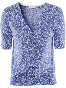 Cardigan - neckline: low v-neck; predominant colour: royal blue; occasions: casual, work; length: standard; style: standard; fibres: cotton - mix; fit: slim fit; waist detail: fitted waist; sleeve length: half sleeve; sleeve style: standard; texture group: knits/crochet; pattern type: fabric; pattern size: small & busy; pattern: patterned/print