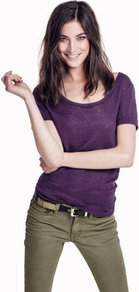 Top - pattern: plain; style: t-shirt; predominant colour: purple; occasions: casual; length: standard; neckline: scoop; fibres: linen - 100%; fit: body skimming; sleeve length: short sleeve; sleeve style: standard; pattern type: fabric; texture group: jersey - stretchy/drapey