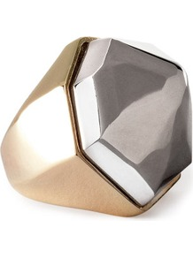 Ring - predominant colour: gold; occasions: casual, evening, occasion; style: cocktail; size: large/oversized; material: chain/metal; trends: metallics; finish: metallic; embellishment: chain/metal