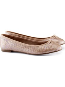 Ballet Pumps - predominant colour: nude; occasions: casual, evening, work, holiday; material: faux leather; heel height: flat; toe: round toe; style: ballerinas / pumps; trends: metallics; finish: metallic; pattern: plain