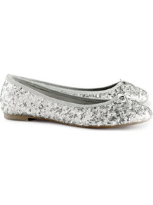 Ballet Pumps - predominant colour: silver; occasions: casual, evening, work, occasion, holiday; material: satin; heel height: flat; embellishment: sequins; toe: round toe; style: ballerinas / pumps; trends: metallics; finish: metallic; pattern: plain
