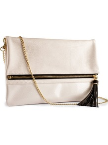 Clutch - predominant colour: ivory; occasions: casual, evening, occasion; type of pattern: light; style: clutch; length: hand carry; size: standard; material: faux leather; pattern: plain; finish: plain
