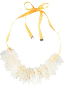Necklace - predominant colour: white; occasions: casual, evening, work, occasion, holiday; style: bib; length: mid; size: large/oversized; material: plastic/rubber; trends: fluorescent; finish: plain; embellishment: beading