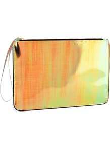 Clutch - occasions: casual, evening, occasion; predominant colour: multicoloured; type of pattern: light; style: clutch; length: hand carry; size: standard; material: faux leather; pattern: plain; trends: fluorescent, metallics; finish: metallic