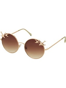 Swallow Trim Round Sunglasses - predominant colour: gold; occasions: casual, evening, holiday; style: round; size: standard; material: chain/metal; pattern: plain; trends: metallics; finish: metallic