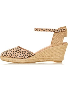 Wade Closed Toe Espadrilles - predominant colour: camel; occasions: casual, work, holiday; material: suede; heel height: mid; embellishment: buckles; ankle detail: ankle strap; heel: wedge; toe: round toe; style: slingbacks; trends: statement prints; finish: plain; pattern: animal print