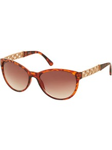 Heart Chain Cat Eye Sunglasses - predominant colour: gold; occasions: casual, evening, work, holiday; style: cateye; size: standard; material: plastic/rubber; embellishment: studs; pattern: tortoiseshell; trends: metallics; finish: metallic