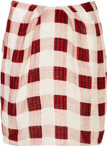 Silk Devore Check Slouch Skirt Boutique - length: mid thigh; pattern: checked/gingham; fit: body skimming; hip detail: fitted at hip; waist: mid/regular rise; predominant colour: true red; occasions: casual, work; style: a-line; fibres: silk - 100%; trends: modern geometrics; pattern type: fabric; pattern size: standard; texture group: woven bulky/heavy