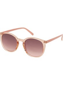 Preppy Colour Block Sunglasses - predominant colour: blush; occasions: casual, work, holiday; style: round; size: standard; material: plastic/rubber; pattern: plain; finish: plain