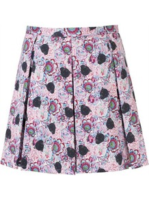 Panther Print Skirt - length: mid thigh; fit: tailored/fitted; style: pleated; waist: mid/regular rise; predominant colour: lilac; occasions: casual, evening, work, holiday; fibres: cotton - stretch; hip detail: structured pleats at hip; texture group: cotton feel fabrics; trends: high impact florals, statement prints; pattern type: fabric; pattern size: small & busy; pattern: florals