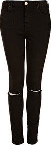 Moto Black Rip Knee Jamie Jeans - style: skinny leg; length: standard; pattern: plain; pocket detail: traditional 5 pocket; waist: mid/regular rise; predominant colour: black; occasions: casual, evening; fibres: cotton - mix; texture group: denim; pattern type: fabric