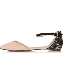 Marnie 2 Part Pointed Shoes - predominant colour: nude; occasions: casual, evening, work, holiday; material: suede; heel height: flat; embellishment: studs; ankle detail: ankle strap; toe: pointed toe; style: ballerinas / pumps; finish: plain; pattern: two-tone