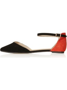 Marnie 2 Part Pointed Shoes - predominant colour: black; occasions: casual, evening, work, holiday; material: suede; heel height: flat; ankle detail: ankle strap; toe: pointed toe; style: ballerinas / pumps; finish: plain; pattern: two-tone