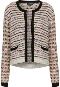 Knitted Mixed Yarn Jacket - pattern: horizontal stripes; collar: round collar/collarless; style: boxy; occasions: casual, work; length: standard; fit: straight cut (boxy); fibres: cotton - mix; predominant colour: multicoloured; sleeve length: long sleeve; sleeve style: standard; texture group: knits/crochet; collar break: medium; pattern type: fabric; pattern size: standard