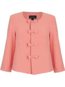 Bow Front Crop Jacket - pattern: plain; style: single breasted blazer; bust detail: added detail/embellishment at bust; collar: high neck; predominant colour: pink; occasions: evening, work, occasion; length: standard; fit: straight cut (boxy); fibres: polyester/polyamide - stretch; sleeve length: 3/4 length; sleeve style: standard; collar break: high; pattern type: fabric; pattern size: standard; texture group: other - light to midweight
