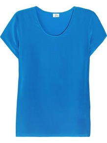 Silk T Shirt - neckline: round neck; pattern: plain; style: t-shirt; predominant colour: diva blue; occasions: casual, evening, work, holiday; length: standard; fibres: silk - 100%; fit: straight cut; sleeve length: short sleeve; sleeve style: standard; texture group: silky - light; pattern type: fabric