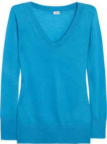 Cashmere Sweater - neckline: v-neck; style: standard; predominant colour: pale blue; occasions: casual, work; length: standard; fit: standard fit; fibres: cashmere - 100%; sleeve length: long sleeve; sleeve style: standard; texture group: knits/crochet; pattern type: knitted - fine stitch; pattern size: standard
