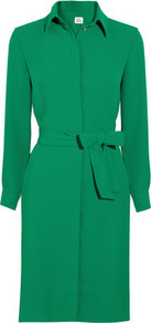 Crepe Shirt Dress - style: shirt; neckline: shirt collar/peter pan/zip with opening; pattern: plain; waist detail: belted waist/tie at waist/drawstring; predominant colour: emerald green; occasions: evening, work; length: just above the knee; fit: body skimming; fibres: polyester/polyamide - 100%; sleeve length: long sleeve; sleeve style: standard; texture group: crepes; pattern type: fabric