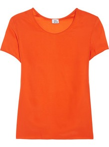 Silk T Shirt - neckline: round neck; pattern: plain; style: t-shirt; predominant colour: bright orange; occasions: casual, evening, work; length: standard; fibres: silk - 100%; fit: straight cut; sleeve length: short sleeve; sleeve style: standard; texture group: silky - light; trends: fluorescent; pattern type: fabric
