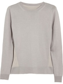 Silk Back Cashmere Wool Blend Sweater - neckline: round neck; style: standard; back detail: contrast pattern/fabric at back; predominant colour: light grey; occasions: casual, work; length: standard; fibres: wool - mix; fit: standard fit; sleeve length: long sleeve; sleeve style: standard; texture group: knits/crochet; pattern type: knitted - fine stitch; pattern size: standard