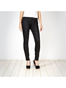 Black Coated Skinny Jeans - style: skinny leg; length: standard; pattern: plain; pocket detail: traditional 5 pocket; waist: mid/regular rise; predominant colour: black; occasions: casual, evening; fibres: cotton - stretch; texture group: waxed cotton; pattern type: fabric