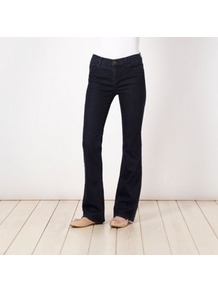 Dark Blue Bootcut Jeans - style: bootcut; pattern: plain; pocket detail: traditional 5 pocket; length: extra long; waist: mid/regular rise; predominant colour: navy; occasions: casual; fibres: cotton - stretch; jeans detail: dark wash; texture group: denim; pattern type: fabric; embellishment: studs