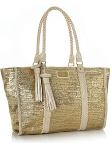 Designer Gold Weave Tote Bag - predominant colour: gold; occasions: casual, work, holiday; type of pattern: small; style: tote; length: handle; size: oversized; material: macrame/raffia/straw; embellishment: tassels; pattern: plain; trends: metallics; finish: metallic