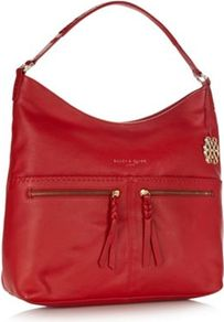 Red Leather Stab Stitched Pocketed Hobo Bag - predominant colour: true red; occasions: casual, work; type of pattern: standard; style: shoulder; length: shoulder (tucks under arm); size: standard; material: leather; embellishment: zips; pattern: plain; finish: plain