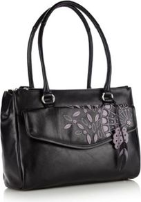 Black Leather Embroidered And Appliqued Pocketed Tote Bag - secondary colour: lilac; predominant colour: black; occasions: casual, work; type of pattern: light; style: shoulder; length: shoulder (tucks under arm); size: standard; material: leather; embellishment: embroidered; pattern: florals; finish: plain