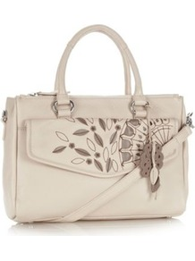 Cream Leather Embroidered And Appliqued Pocketed Grab Bag - predominant colour: ivory; secondary colour: taupe; occasions: casual, work; type of pattern: light; style: grab bag; length: handle; size: standard; material: leather; embellishment: embroidered; pattern: plain; finish: plain