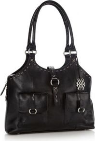 Black Leather Large Stab Stitched Leather Tote Bag - predominant colour: black; occasions: casual, work; type of pattern: standard; style: tote; length: handle; size: standard; material: leather; pattern: plain; finish: plain; embellishment: buckles