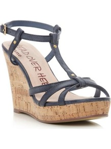 Navy Gelz T Bar Cork Wedge Sandal - predominant colour: navy; secondary colour: camel; occasions: casual, evening, holiday; material: faux leather; heel height: high; embellishment: studs; ankle detail: ankle strap; heel: wedge; toe: open toe/peeptoe; style: strappy; finish: plain; pattern: plain