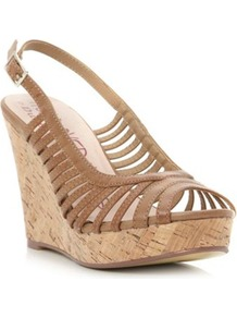 Tan Glowz Slingback Wedge Sandal - predominant colour: taupe; occasions: casual, evening, holiday; material: faux leather; heel: wedge; toe: open toe/peeptoe; style: strappy; finish: plain; pattern: plain; heel height: very high