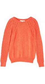 Cable Knit Sleeve Raglan Jumper - neckline: round neck; style: standard; pattern: cable knit; shoulder detail: contrast pattern/fabric at shoulder; predominant colour: bright orange; occasions: casual, work; length: standard; fibres: cotton - 100%; fit: standard fit; bust detail: contrast pattern/fabric/detail at bust; sleeve length: long sleeve; sleeve style: standard; texture group: knits/crochet; trends: fluorescent; pattern type: knitted - other; pattern size: standard