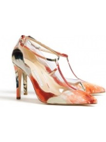 Maddox Crepe Satin & Glitter T Bar Shoes - occasions: evening, work, occasion; predominant colour: multicoloured; material: satin; heel height: high; embellishment: glitter; ankle detail: ankle strap; heel: stiletto; toe: pointed toe; style: t-bar; finish: plain; pattern: patterned/print