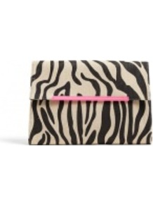 Wasca Zebra Print Clutch Bag - occasions: evening, occasion; predominant colour: multicoloured; type of pattern: standard; style: clutch; length: hand carry; size: standard; material: fabric; pattern: animal print