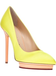 'Debonaire' Pump - predominant colour: yellow; occasions: evening, work, occasion; material: satin; heel: stiletto; toe: pointed toe; style: courts; trends: fluorescent; finish: plain; pattern: plain; heel height: very high