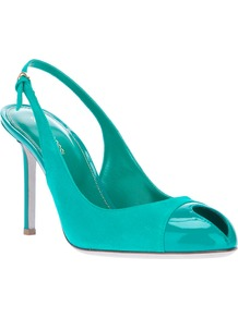 Sling Back Shoe - predominant colour: turquoise; occasions: evening, work, occasion, holiday; material: leather; heel height: high; ankle detail: ankle strap; heel: stiletto; toe: open toe/peeptoe; style: slingbacks; trends: fluorescent; finish: plain; pattern: plain; embellishment: toe cap
