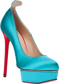 'Josephine' Pump - predominant colour: turquoise; occasions: evening, occasion; material: satin; heel: platform; toe: round toe; style: courts; trends: fluorescent; finish: plain; pattern: plain; heel height: very high