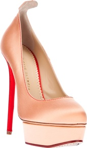 'Josephine' Pump - predominant colour: blush; occasions: evening, occasion; material: satin; heel: platform; toe: round toe; style: courts; finish: plain; pattern: plain; heel height: very high