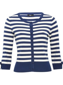 Petite Bow Trim Striped Cardigan Petite Collection Navy - neckline: round neck; pattern: horizontal stripes; predominant colour: navy; occasions: casual, work; length: standard; style: standard; fit: slim fit; waist detail: fitted waist; sleeve length: 3/4 length; sleeve style: standard; texture group: knits/crochet; pattern type: knitted - fine stitch; pattern size: standard; fibres: viscose/rayon - mix