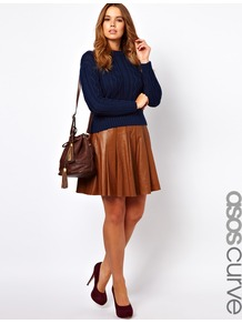 Curve Skater Skirt In Leather - pattern: plain; fit: loose/voluminous; style: pleated; waist detail: fitted waist; waist: high rise; predominant colour: tan; occasions: casual, evening; length: just above the knee; fibres: leather - 100%; hip detail: structured pleats at hip; texture group: leather; pattern type: fabric